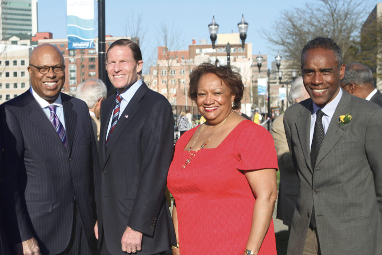 Dimitri Stockton, Senator Richard Blumenthal and Juanita James, Mill River Collaborative  Photo: Contributed